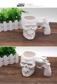 halloween coffee mugs coffee cup 2017 white creative skull handle pistol cup ceramic mugs