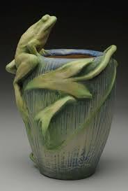 paris expo 1900 amphora ceramic frog vase with blue green pastel