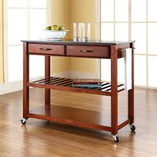 crosley cherry kitchen cart with black granite top kf30054ch the