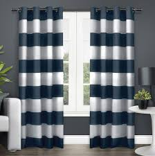Navy Blue And White Striped Curtains by 19 Sheer White Curtains With Grommets Thermavoile Grommet