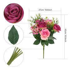 amazon com soledi artificial flowers fake rose 12 heads lifelike