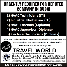 Iti Job Electrician Jobs At Abroad Job Vacancy 3 2 2017