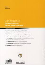 livre cap cuisine livre connaissance de l entreprise et de environnement cap