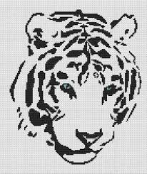 white willow stitching tribal white tiger cross stitch pattern