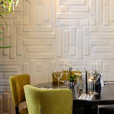 interior great white panel wall design combine with black round