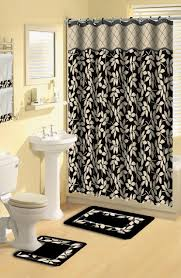 Zebra Shower Curtain by 22 Piece Bath Accessory Set Chocolate Brown Bathroom Rug Set