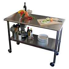 Kitchen Island And Cart Stainless Steel Kitchen Prep Table Fully Adjustable Bottom Shelf