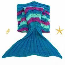 cute sea wave pattern mermaid shape knitted kid u0027s blanket sea