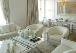 luxurious living room decor with marble floor and white walls