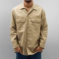 dickies overwear shirt longsleeve work in khaki men dickies lab
