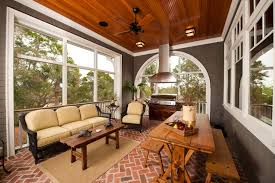 Cozy Sunroom Parquet Styled Brick Floor For Cozy Sunroom Using Outdoor Ceiling