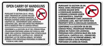 texas open carry law info for churches