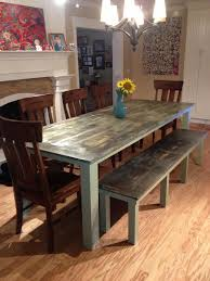 dining room table plus bench green weathered we used a blow