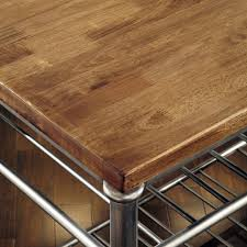 Classic French Style Hardwood Butcher Block Top Metal Kitchen - Kitchen utility table