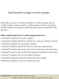 managing director resume example top8wealthmanagerresumesamples 150410094359 conversion gate01 thumbnail 4 jpg cb 1428677091