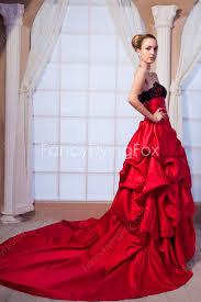 red taffeta strapless neckline puffy full length gothic wedding