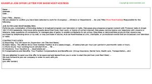 show host hostess offer letter