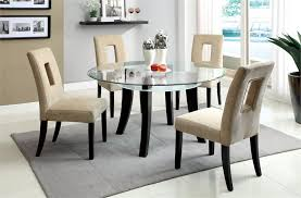ebony table and chairs halo ebony round dining table with 60 glass top crate and barrel