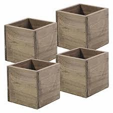 amazon com wood planter box 5 inch square rustic barn wood