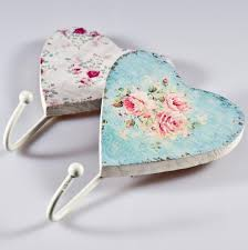 gisela graham shabby chic set of 2 floral heart coat hooks amazon