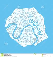 Moscow Map Cartoon Map Of Moscow Stock Vector Image 89991895