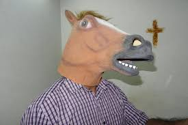 funny creepy horse head latex mask face rubber mask for halloween