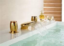 waterfall bathroom basin sink gold finish dual handle