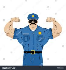 strong power police officer large man stock vector 320290529