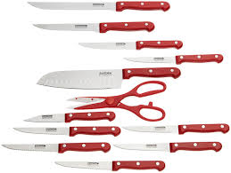 buy masterchef 13 piece knife set with block red online at low