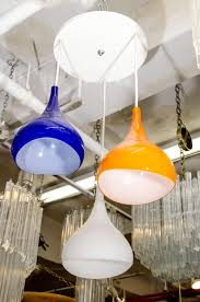 Colored Glass Pendant Lights Mid Century Tri Colored Pendant Light With Glass Shades For Sale