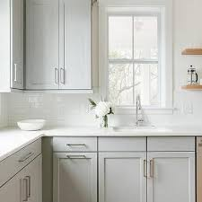 dove grey paint kitchen cabinets dove gray shaker cabinets with wooden shelving kitchen