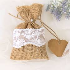 vintage wedding favors burlap linen favor gift bags for rustic vintage wedding