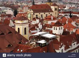 Restaurant Tile Red Tile Roofs In Prague View To A Roof Top Restaurant Stock