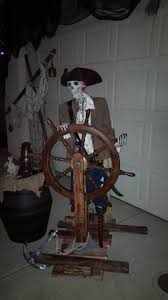 halloween pirate skeleton helmsman at night pirate props last