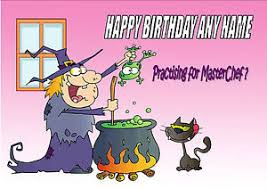 personalised funny witch cookery masterchef fun birthday card