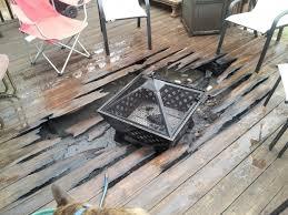 Wood Firepit Pit On Wooden Deck Pit Ideas