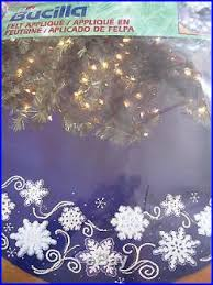 bucilla felt applique tree skirt kit shimmer snowflakes