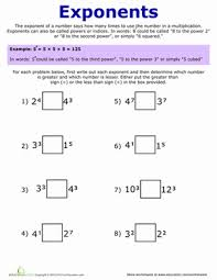 Of Exponents Worksheet Exponent Practice Worksheet Education Com