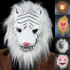 White Tiger Halloween Costume Mix Head Mask Creepy Animal Halloween Costume Theater Prop