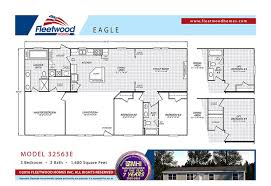 3 Bedroom 2 Bath Mobile Home Floor Plans Eagle 32563e 3 Bed 2 Bath Mobile Home For Sale