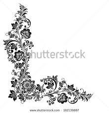 Traditional Design Corner Flower Pattern Card Floral Doodle Stock Vector 475138615