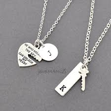 couple necklace images Key to my heart couple necklace mr mrs hand stamping jewelry jpg