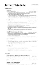 Resume For Teacher Sample by Math Tutor Resume Samples Visualcv Resume Samples Database