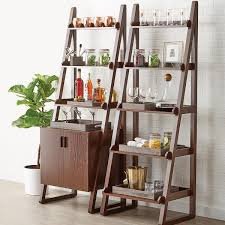 Container Store Bookcase Walnut Encore Ladder Shelf With Cabinet The Container Store