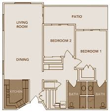bed two bedroom two bath floor plans