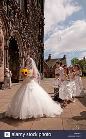 wedding dresses lichfield in white wedding dress at front of lichfield cathedral