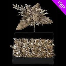 6 poinsettia picks chagne gold decoration tree wreath