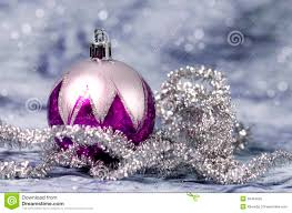 christmas decorations purple and silver royalty free stock image