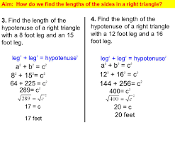 aim how do we find the lengths of the sides in a right triangle