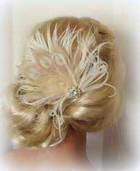 bridal hair clip chagne wedding hair comb feather hair clip aftcra